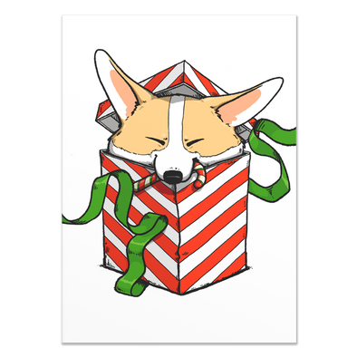 Corgi Surprise Holiday Card