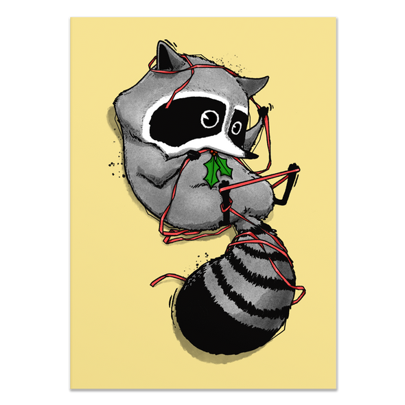 Tangled Raccoon Holiday Card