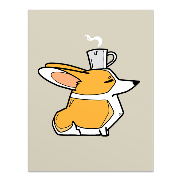 Coffee Head Corgi card - red & white.