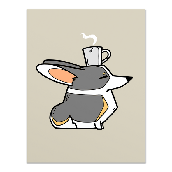 Coffee Head Corgi card - tri-color.