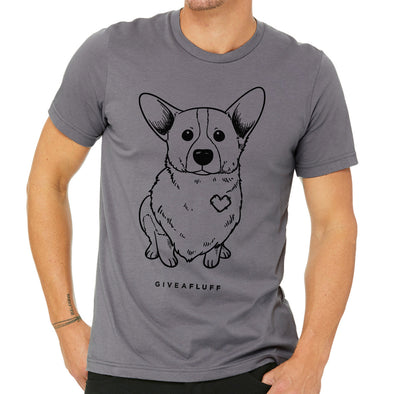 Corgi Patched Hearts Unisex tee in storm grey.