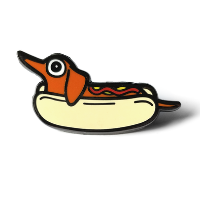 Doxie Hot Dog Enamel Pin.