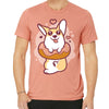 Donut Corgi Unisex Tee in Sunset.