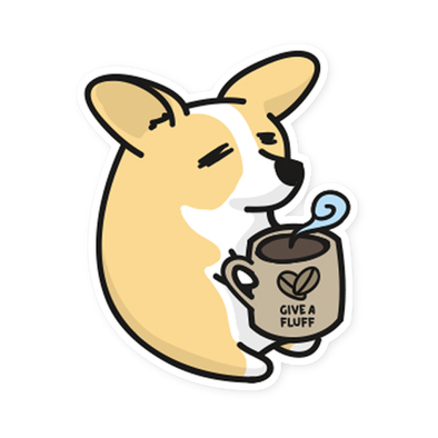 Coffee Corg vinyl sticker.