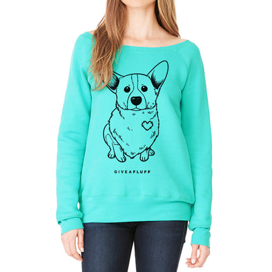 Corgi Patched Hearts Women's Wide Neck Sweatshirt - Preorder