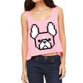 8-bit Frenchie Women's Boxy-Tank in neon pink.