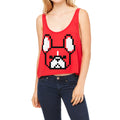 8-bit Frenchie Women's Boxy-Tank in red.