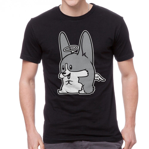 Monochrome Angel Corgi Unisex T-shirt in black.