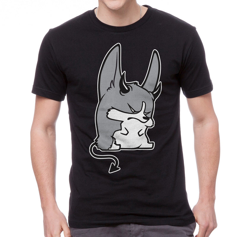 Monochrome Devil Corgi Unisex T-shirt in black.