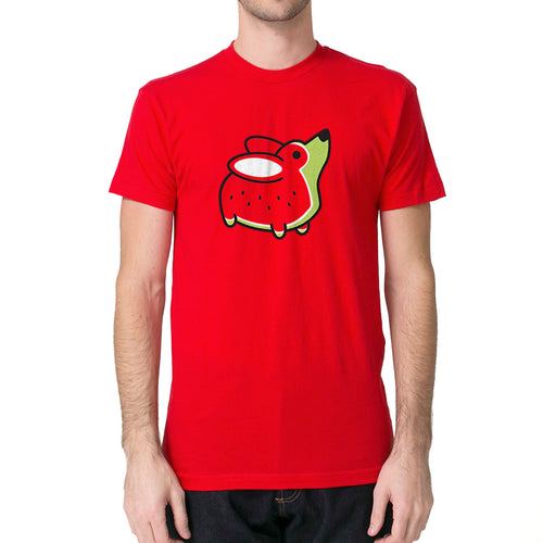 Melon Corgi Unisex T-shirt in Red.