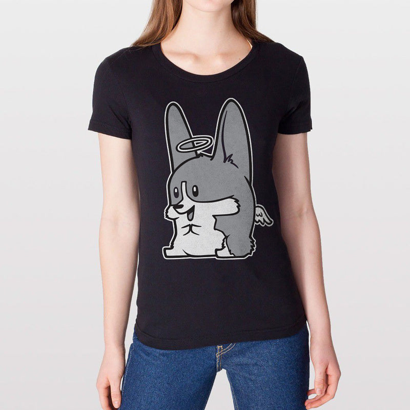 Monochrome Angel Corgi Women's T-shirt in black.