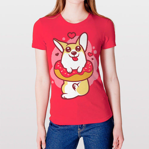 Donut Corgi 2nd Ed. Women's T-shirt in Red.