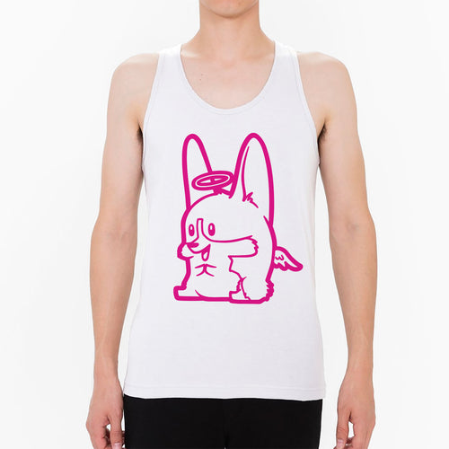 Angel Corgi Unisex Tank in white.