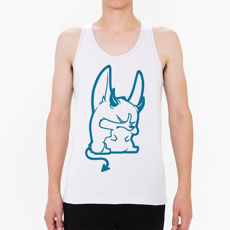 Devil Corgi Unisex Tank in white.