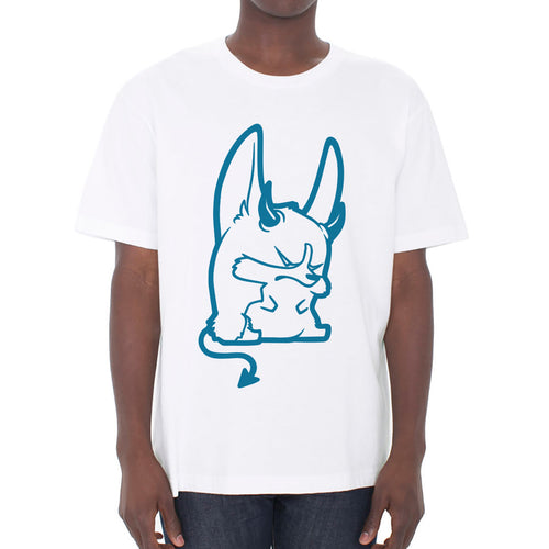 Devil Corgi Unisex T-shirt in white.