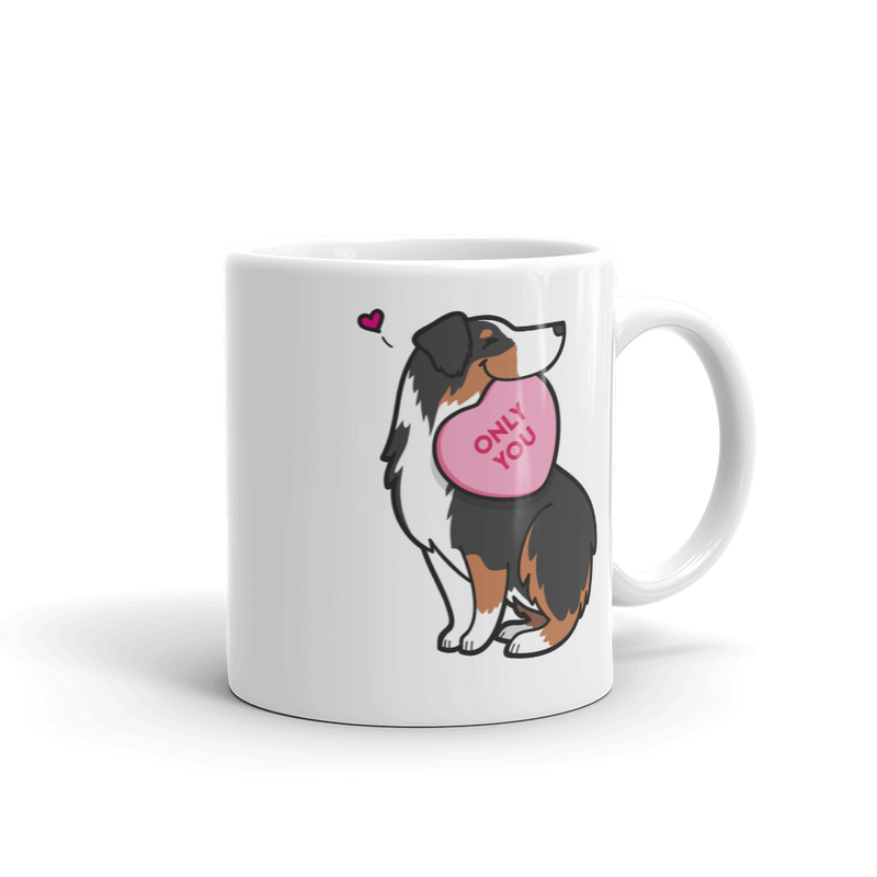 Aussie Candy Heart Mug - Black Tri-Color