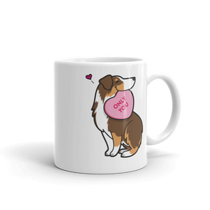 Aussie Candy Heart Mug - Red Tri-Color 1