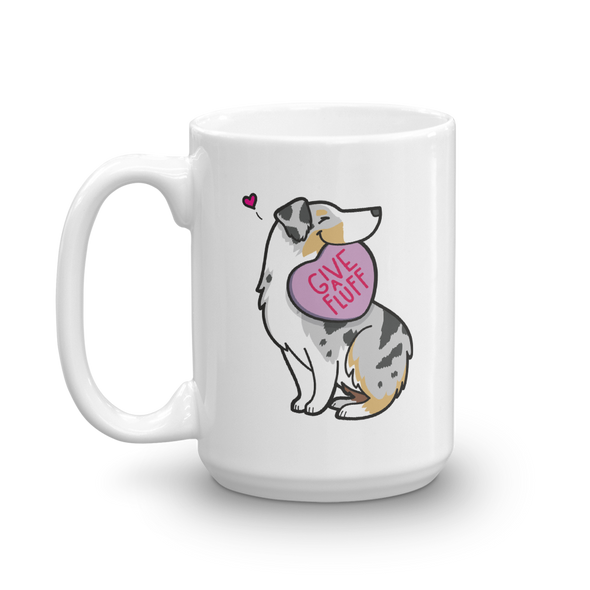 Aussie Candy Heart Mug - Tan Point Blue Merle 1