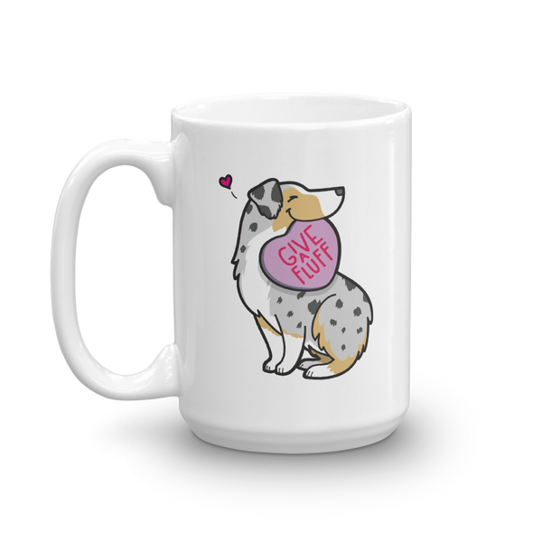 Aussie Candy Heart Mug - Tan Point Blue Merle 2