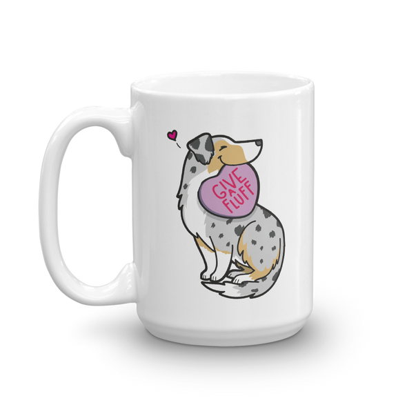 Aussie Candy Heart Mug - Tan Point Blue Merle with Tail