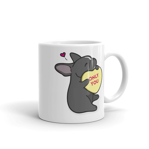 Frenchie Candy Heart Mug - Black