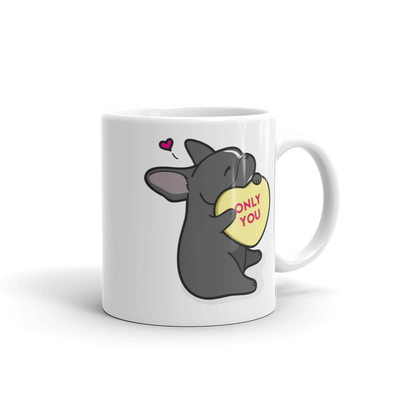Intl - Frenchie Candy Heart Mug - Black