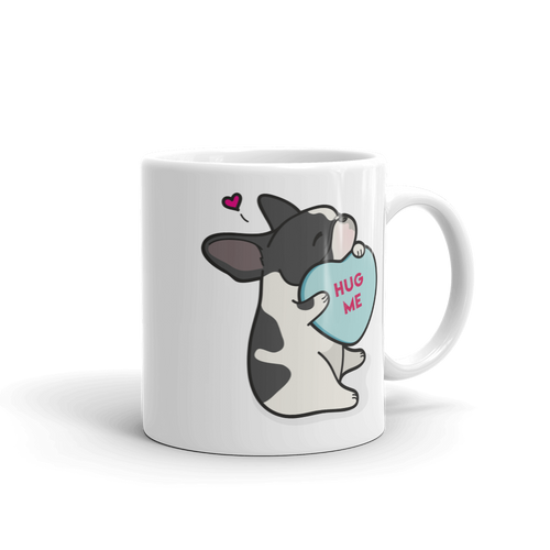 Frenchie Candy Heart Mug - Black Pied