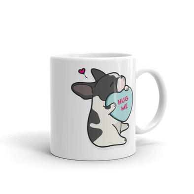 Intl - Frenchie Candy Heart Mug - Black Pied