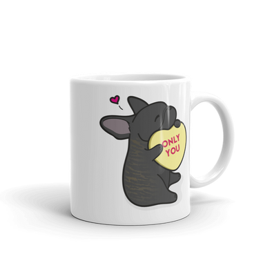 Intl - Frenchie Candy Heart Mug - Brindle