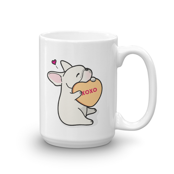 Intl - Frenchie Candy Heart Mug - Cream