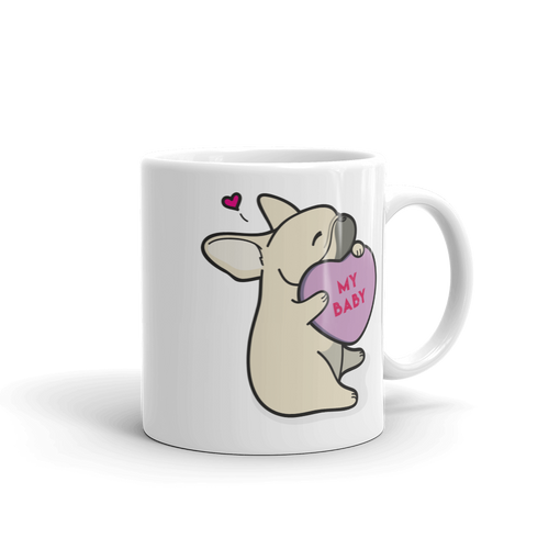 Intl - Frenchie Candy Heart Mug - Fawn