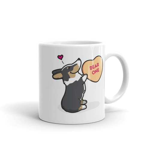 Intl - Corgi Candy Heart Mug - Black Headed Tri-Color