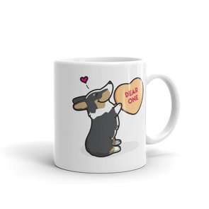 Corgi Candy Heart Mug - Black Headed Tri-Color