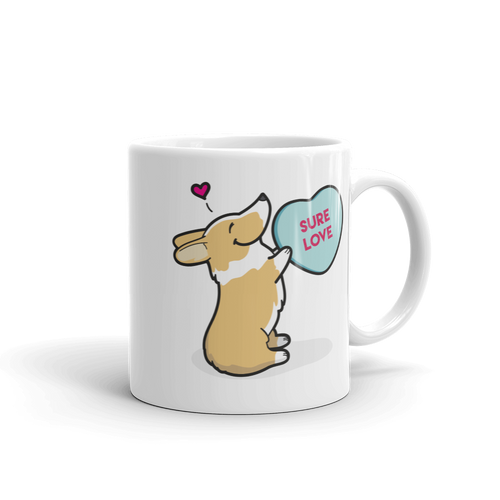 Intl - Corgi Candy Heart Mug - Red and White