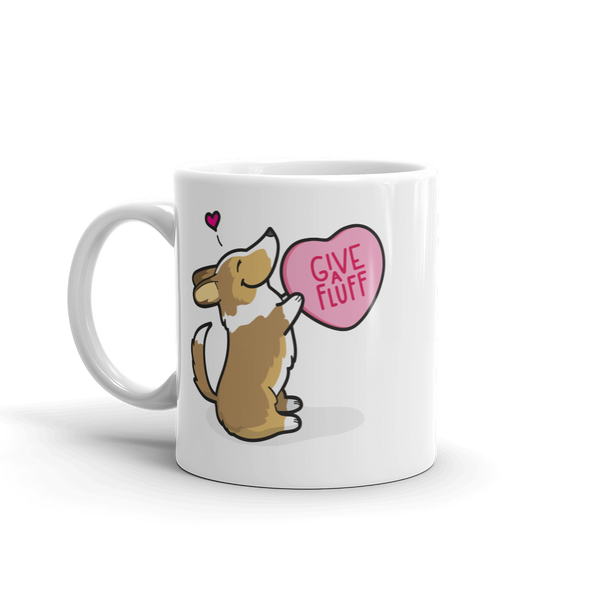 Corgi Candy Heart Mug - Sable with Tail