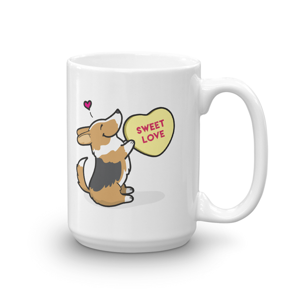 Corgi Candy Heart Mug - Tri-Color with Tail