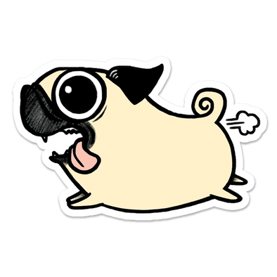 Crazy Pug Sticker