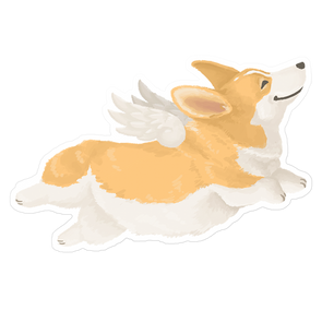 Corgi Angel Sticker