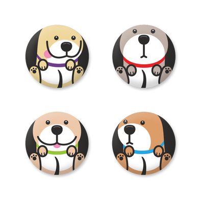 Round Dog Magnet Set