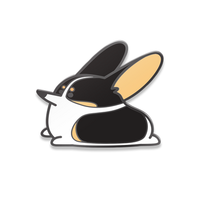 Black headed tri-color corgi enamel pin.