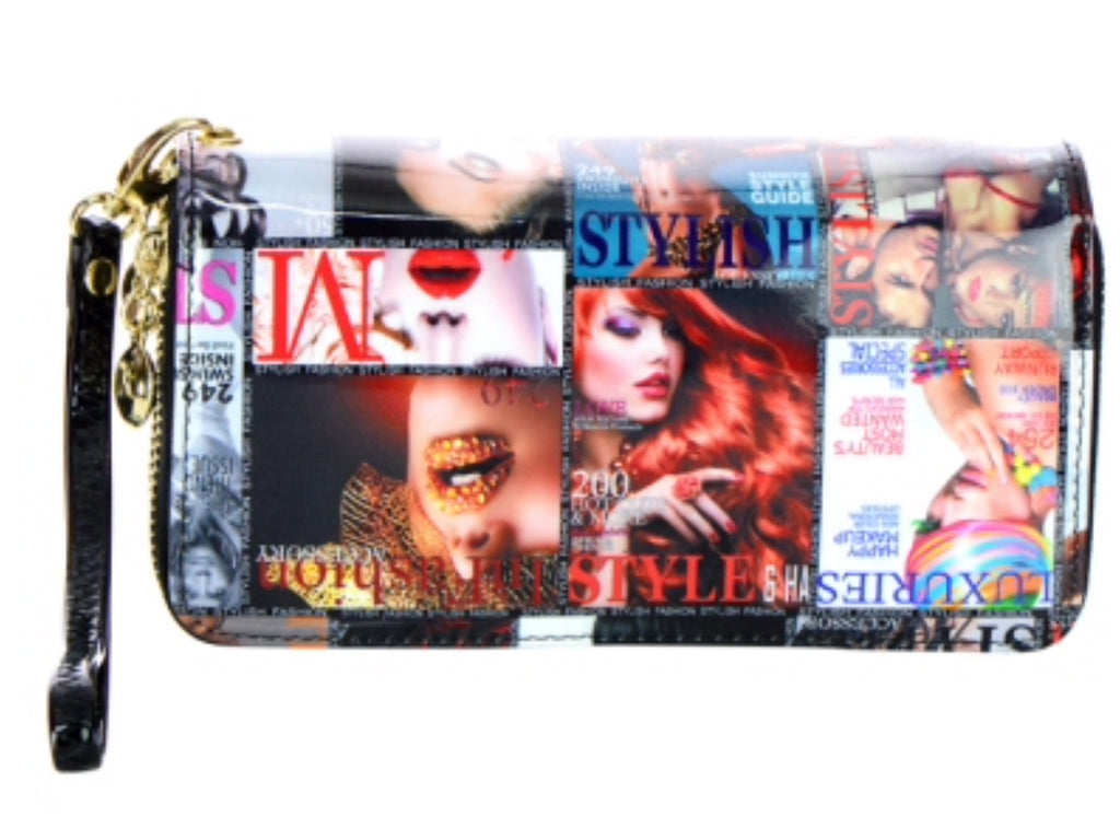 Patent Leather Magazine Print Wallet