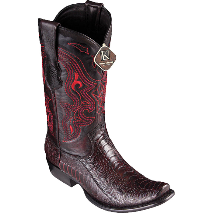 Men's King Exotic Ostrich Leg Dubai Toe Boot -Black Cherry