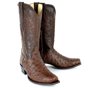 Ostrich Skin Square Toe Boot LAB-5803