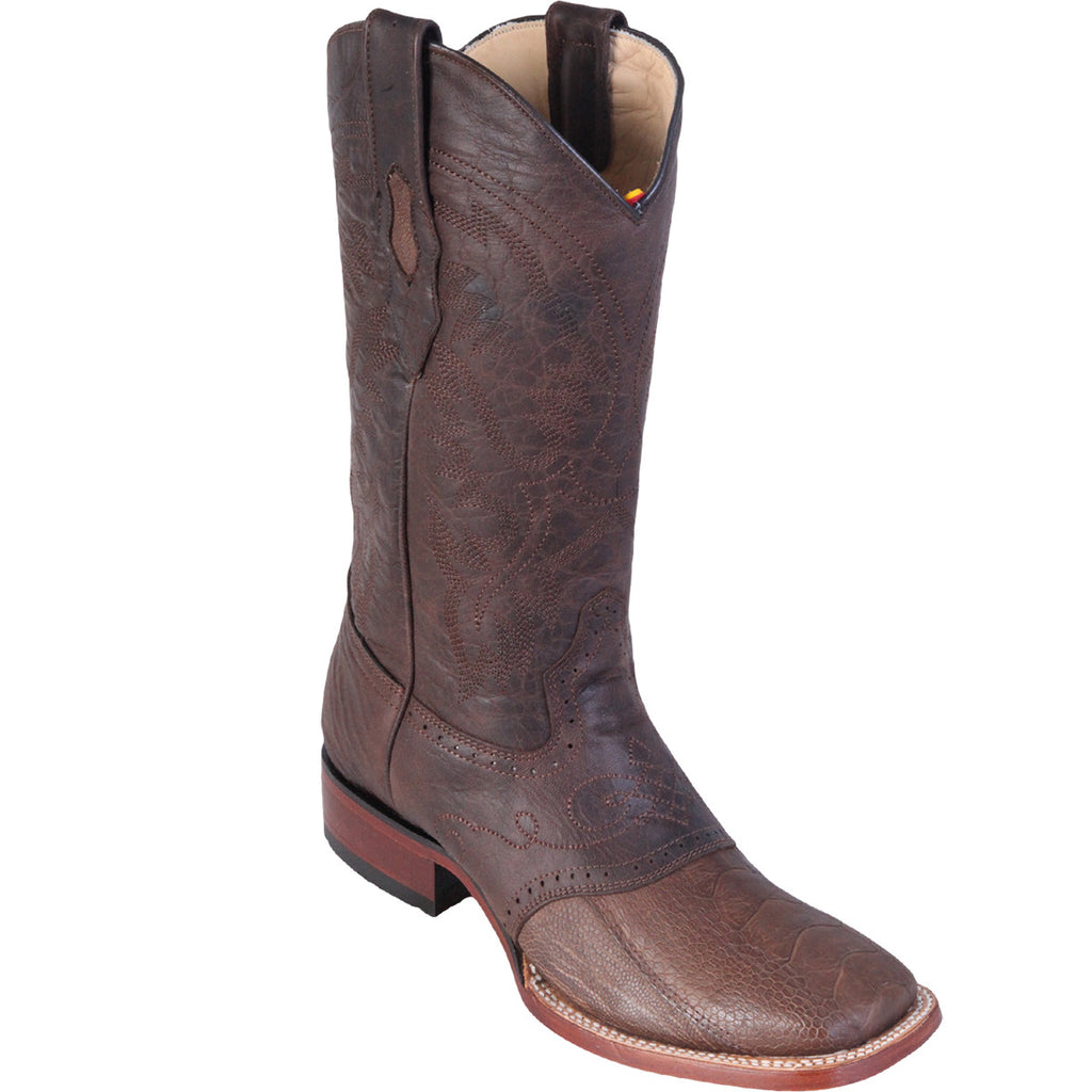 Original Ostrich Leg Skin Wide Square Toe Boot LAB-821G0507