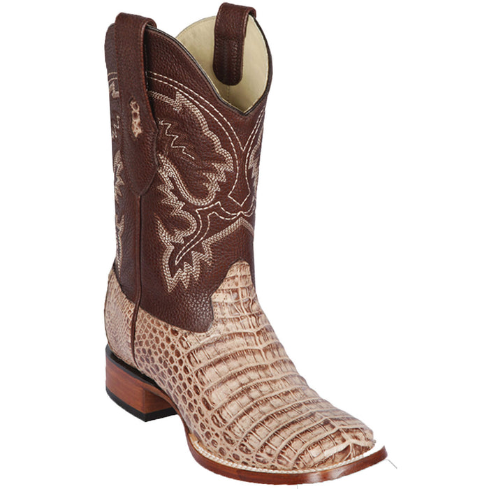 Men's Los Altos Caiman (Gator) Belly Wide Square Toe Boot -Mocha