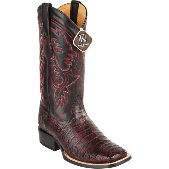 Original Black Cherry Caiman Belly Skin Boot Wide Toe KE-482217