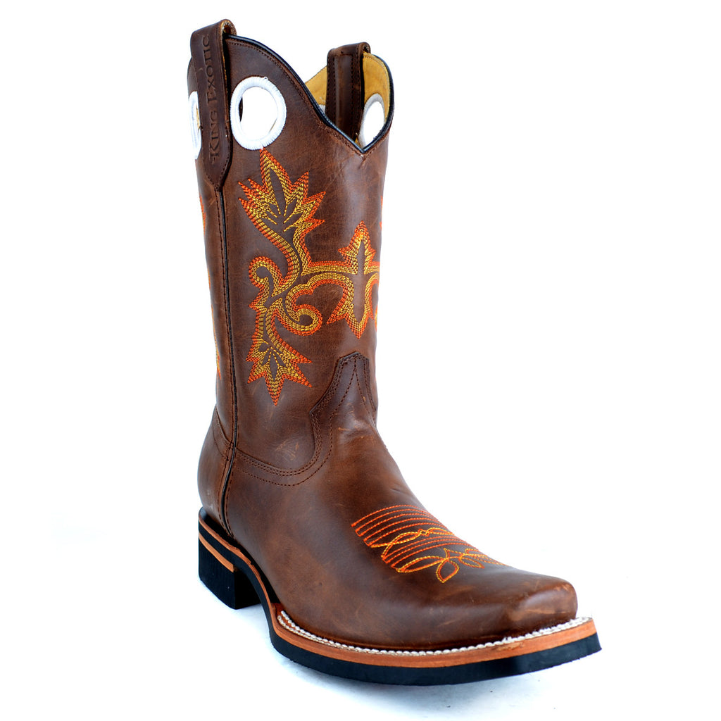 Cowhide Leather Rodeo Toe Boot KE-8153807