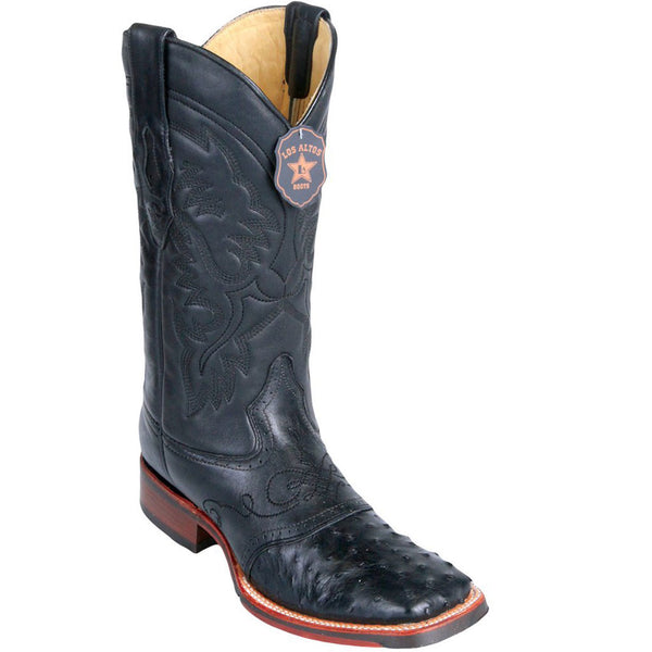 Ostrich Skin Wide Square Toe Boot LAB-82303