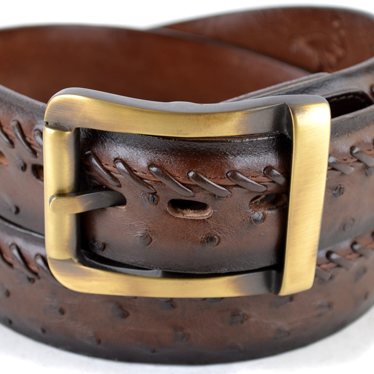Original Brown Ostrich Skin Dress Belt