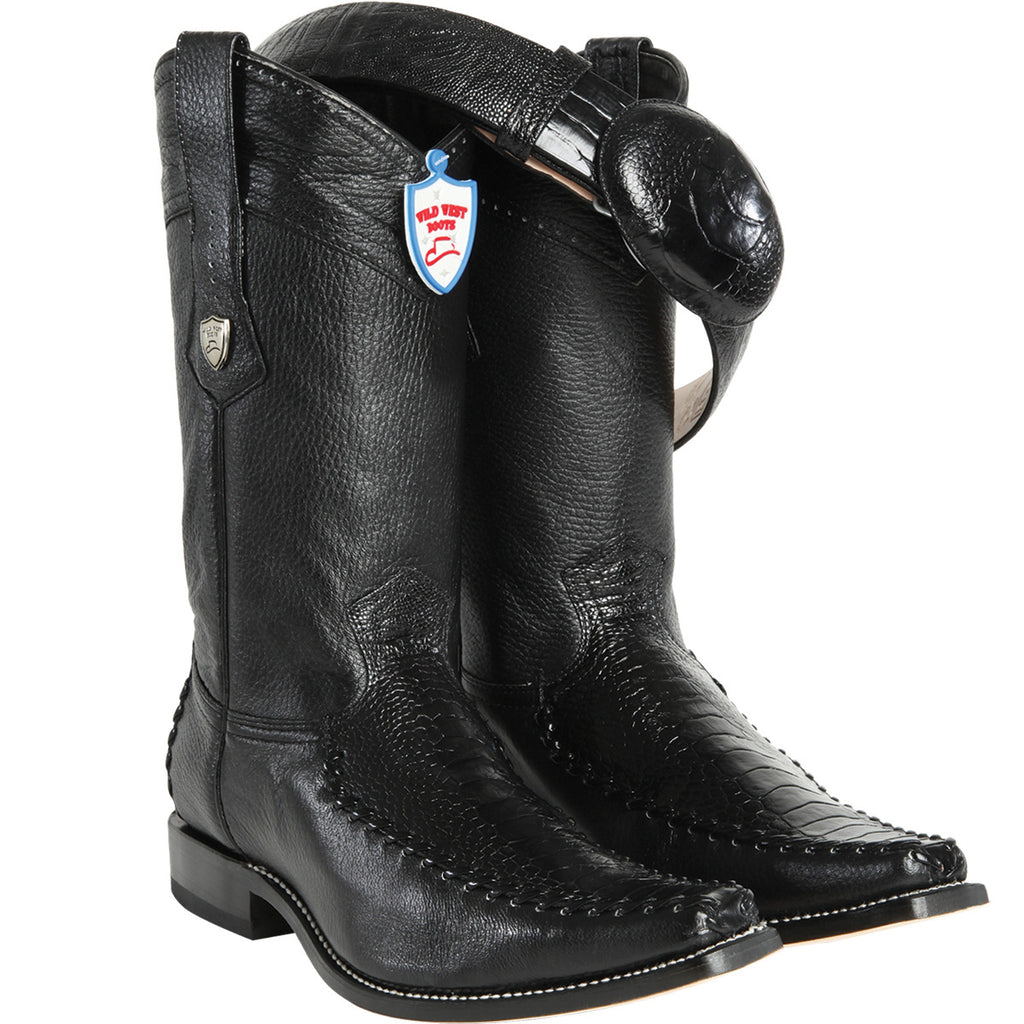 Ostrich Leg Square Toe Boot WW-278T05